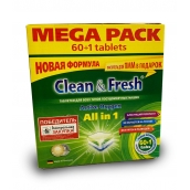 "Таблетки для ПММ CLEAN&FRESH ""All in 1"", 60 таб.+очист. 1шт."