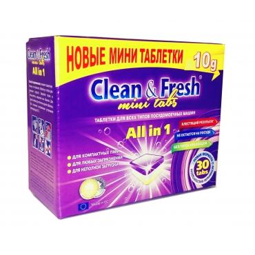 """Таблетки для ПММ """"Clean&Fresh"""" All in 1 mini tabs, 30 таб."""