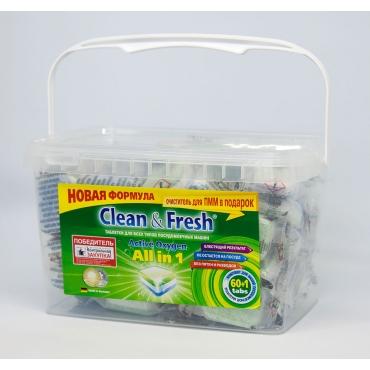 "Таблетки для ПММ CLEAN&FRESH ""All in 1"", 60 таб.+очист. 1шт."