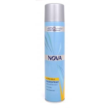 Лак для волос NOVA сверхсильной фиксации 450 мл с провитаминами В5, жёлтый